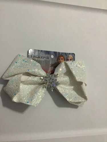 Scunci Frozen II Girls Jumbo Salon White Glitter Bow Hair Cl