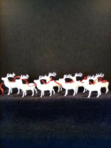 Vintage Christmas Hard Plastic Reindeers Ornaments (Lot of 8)