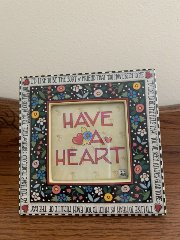 MARY ENGELBREIT Ceramic HAVE A HEART Picture Photo Frame FLOWERS 1995