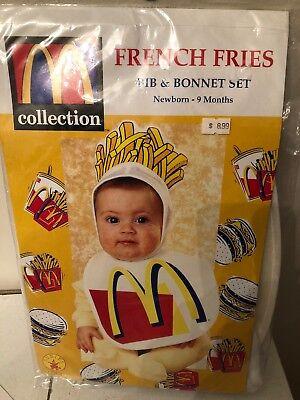 McDonalds French Fries Bib & Bonnet Costume Set 1998 Rubies (0-9 Months) - NEW! - Mcdonalds French Fries Halloween Costume