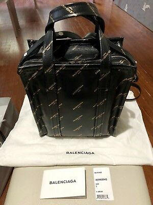 Rare BALENCIAGA Black and Gold Leather Bazar Shopper AJ Tote Bag XS Runway