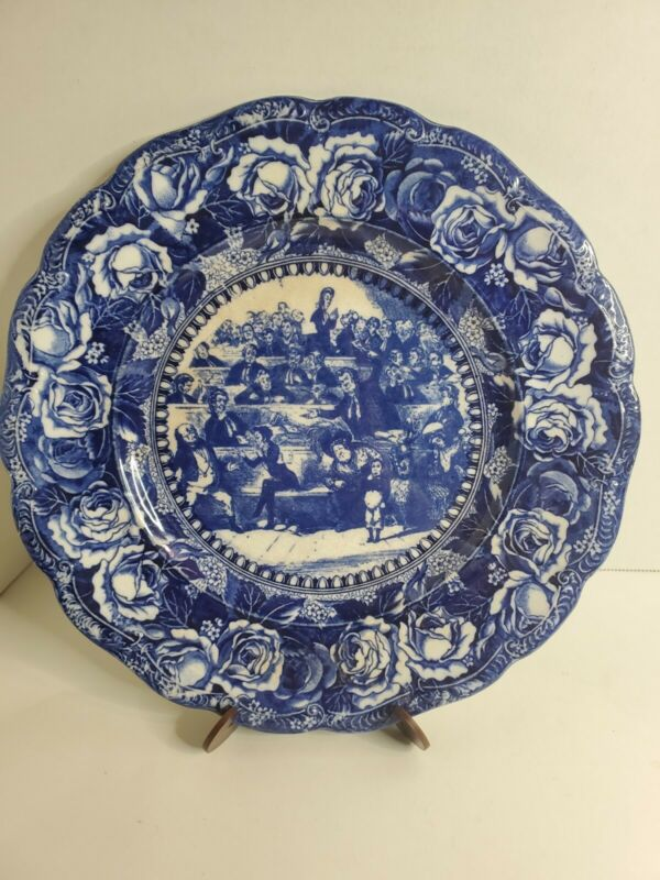 Flow Blue Transferware Bardell Pickwick Dickens Scalloped Edge Plate England