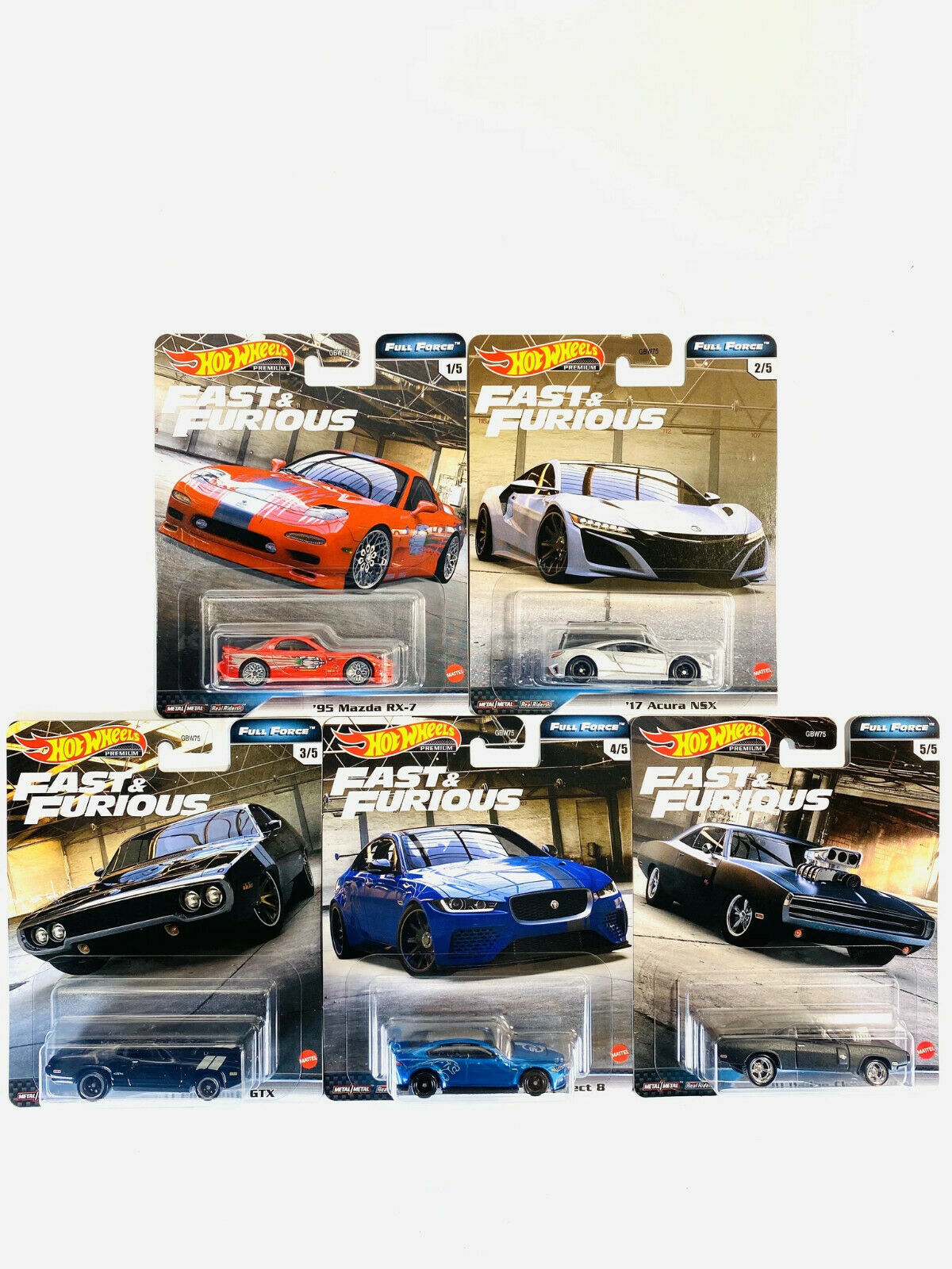 fast furious komplettes set 1-5 OVP Hot Wheels  2020 real riders