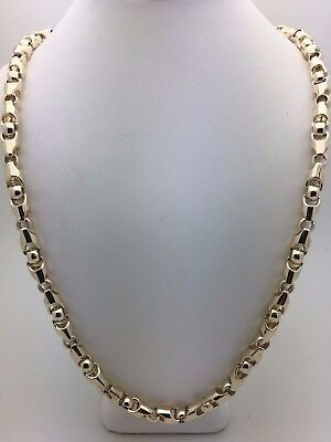 """14k Yellow Gold Solid Heavy 24"""" Bullet Style Chain Necklace 84.2g 6mm"""
