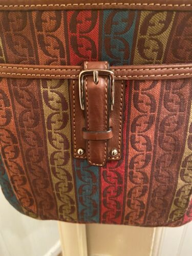 FOSSIL Multicolor Canvas Crossbody Purse Bag Leather Accents