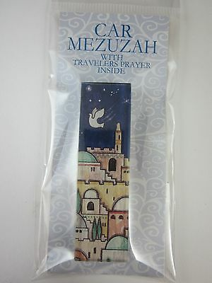 "Car Mezuzah 2.5"" Acrylic JERUSALEM with Travelers Prayer Scroll"