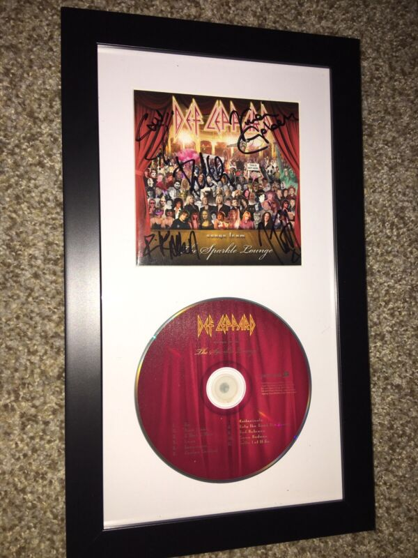 DEF LEPPARD SPARKLE LOUNGE SIGNED, MATTED & FRAMED CD Booklet AUTOGRAPHED by 5 R