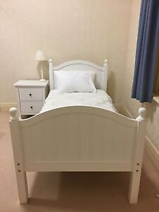 White single wooden bed frame and mattress if needed Strathfield Strathfield Area Preview