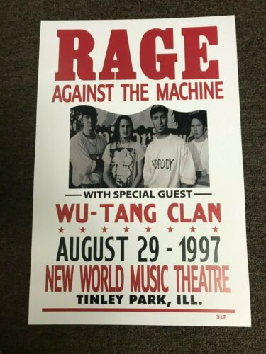 Rage Against the Machine Wu-Tang Clan 1997 Cardstock Concert Poster 12x18
