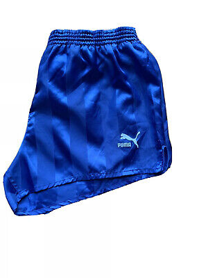 Men's Vintage Puma Shorts Blue Sprinter Hipster Retro Sports Medium Waist 32
