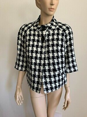 VINTAGE EAST 5TH BLACK WHITE HOUNDSTOOTH JACKIE O CROPPED JACKET BLAZER SIZE S
