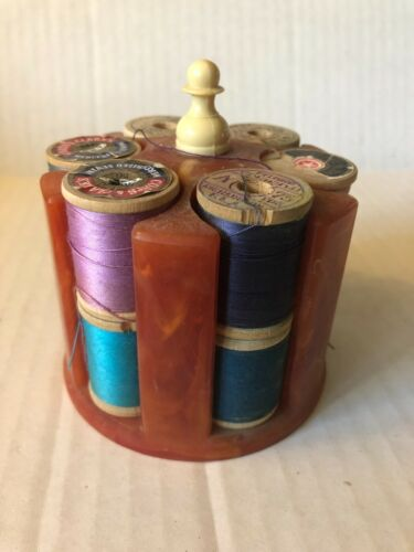 Vintage Sewing Spool Thread Holder with 12  Full Spools