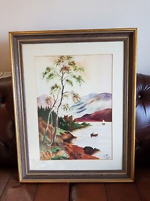 A Framed Water Colour Landscape with Lake , Signed I W 1932
