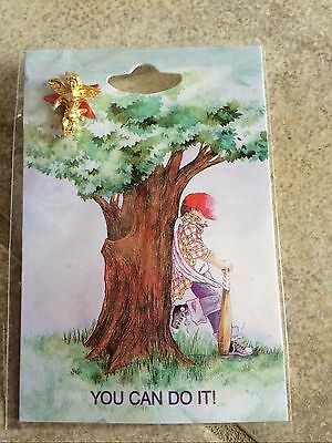 YOU CAN DO IT HEALING ANGEL PIN CARD MOTIVATION SELF Helps Feed Vet CAT RESQ