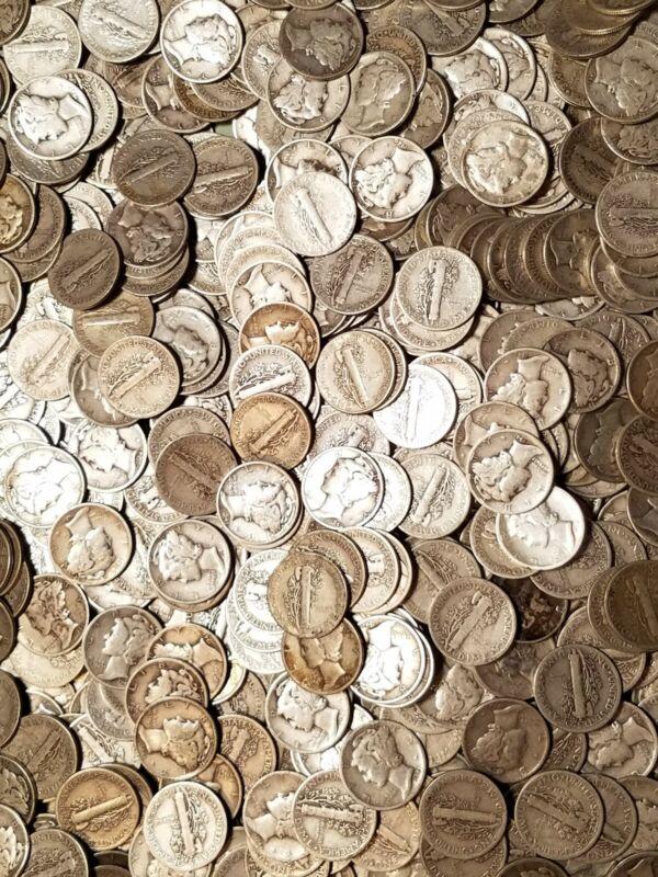 (10) $.10 1916-1945 Mercury Dime Classic Average Circulated 90% Silver Lot