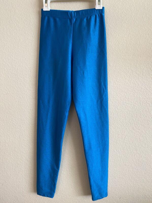 Vintage Gilda Marx Shiny Blue Leggings Size Medium Dance Aerobics Jazzercise