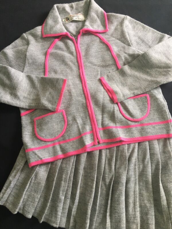 Vintage Piccolino  Made In Italy 1960's 2 Piece Knit Girls Dress Gray
