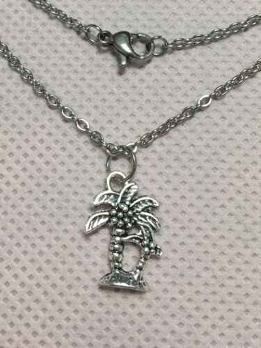 Silver Palm Tree Necklace 18 Long Hypoallergenic Stainless Steel Chain - $4.99