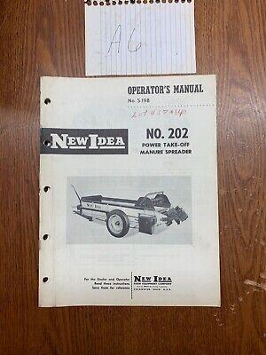 New Idea No. 202 Manure Spreader Operators Manual Nos Part S-198