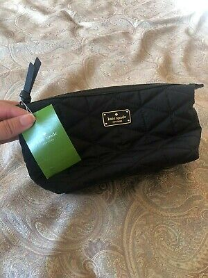 NWT Kate Spade Cosmetic Bag BLACK quilted inner pouch container zipper