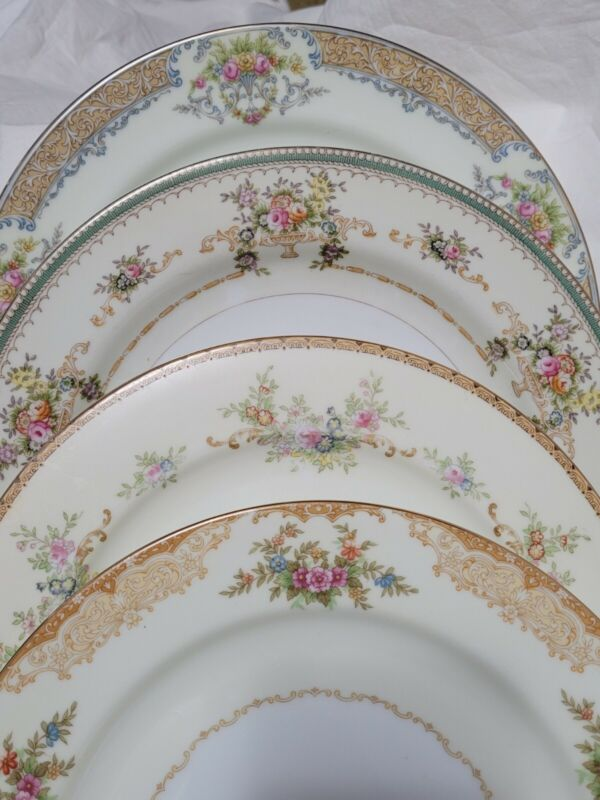 Mismatched China Dinner Plates Vintage ~ Set of 4 ~ Beautiful Florals Party