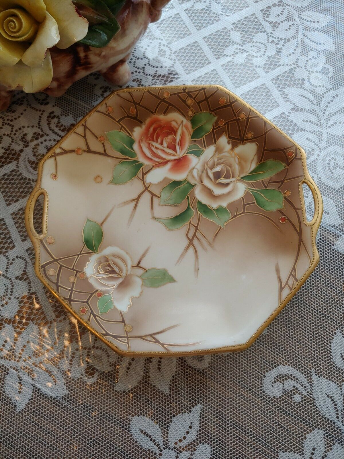 Antique Floral Handled Nippon Porcelain Serving Plate - $30.00