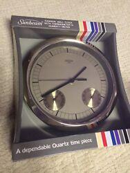 NIB Vintage Wall Clock Thermometer RETRO 80's Decor Sunbeam Quartz Time Piece