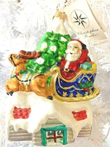 "Radko UP ON THE ROOF TOP Ornament Santa Reindeer 99-215-0  5"" NWT"