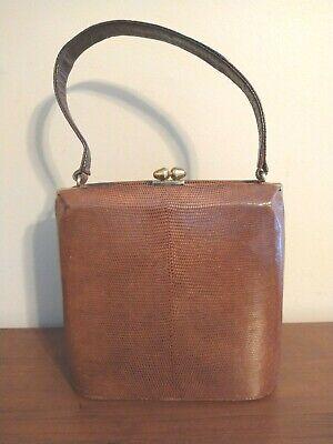 1950s Handbags, Purses, and Evening Bag Styles Vintage Escort Handbag 1950's Brown Natural Lizard Leather Clam-Shell Purse/Bag $29.00 AT vintagedancer.com