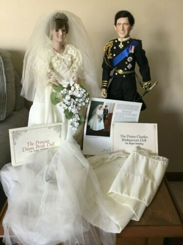Princess Diana and Prince Charles Wedding Dolls By Danbury Mint
