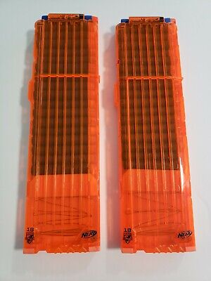 Nerf (2)  18 N-Strike Elite Dart magazines clips with bullets