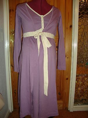 BNWT MATERNITY Mauve/Cream Long Sleeved Robe/Dressing Gown M - 12-14