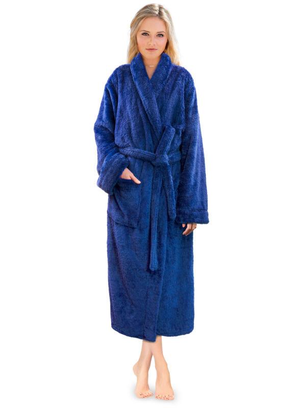 Premium Womens Plush Soft Robe Fuzzy Fluffy Warm Sherpa Fleece Bathrobe Spa Robe