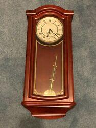 SEIKO WOOD PENDULUM WALL CLOCK MAHOGANY FINISH GOLD ACCENTS CHIMES NEW IN BOX