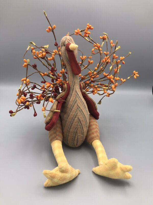 2000 Tender Heart Treasures Stuffed Thanksgiving Sitting Turkey w/ Bouquet