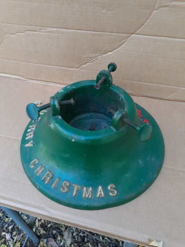 Antique Merry Christmas Cast Iron Christmas Tree Stand