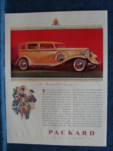 1932 Packard Auto Ad Print   4-Door Light Eight Sedan  Light Tan Colored