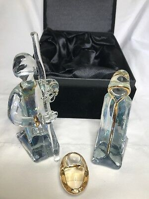 Bohemian Crystal  3 piece Nativity Set  in Padded Black Velvet - Black Nativity Set