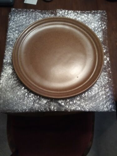 "Set Of 6 Dinner Plates, Monmouth Pottery Mojave Brown 10 1/8"" USA"
