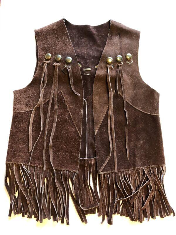 Vintage Brown Suede Fringe Vest, 1970