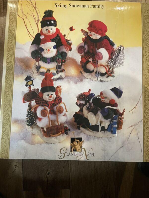 Grandeur Noel Skiing Snowman Family Vintage  New In Box