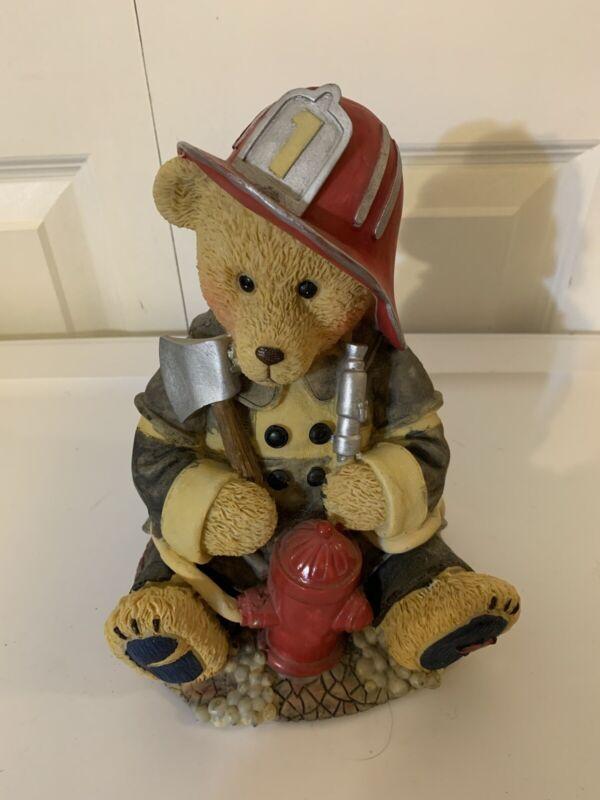 Teddy Bear Fire Fighter Piggy Bank Coin Bank