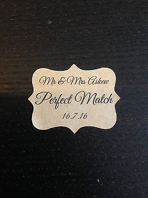 28 x VINTAGE - PERFECT MATCH Kraft Brown Wedding Stickers Labels Personalised
