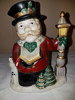 """Fitz & Floyd Omnibus Christmas Creamer Caroler with Puppy at Lamp Post 6 1/2"""" H"""