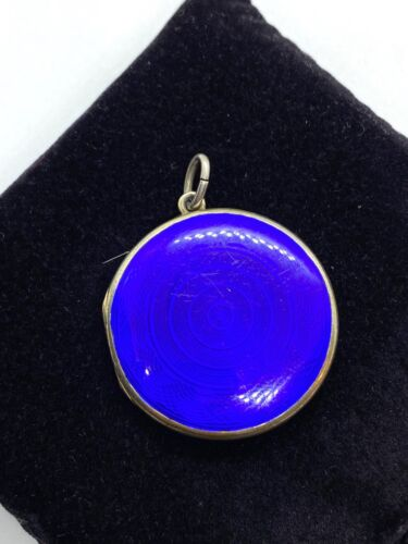 Antique or Vintage Sterling Silver Blue Guilloche Enamel Double Sided Locket