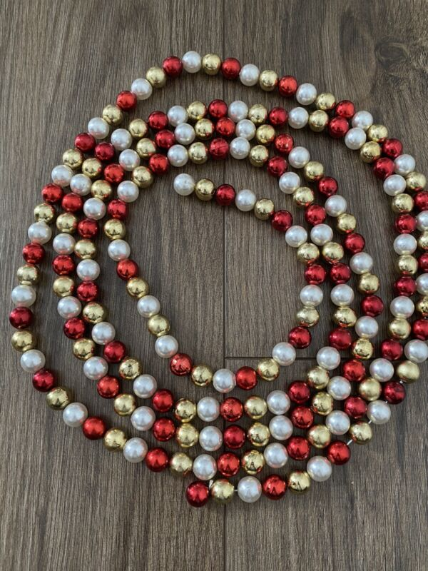 Bead Beaded Christmas Garland Strand Red Gold Pearl Beads 9