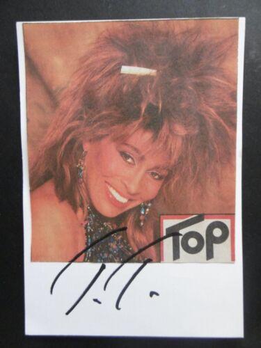 Tina Turner Autogramm signed 10x15 cm Karteikarte mit Magazinbild ACOA