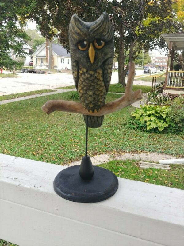 Hand Carved Wood Folk Art Halloween owl Sculpture OOAK
