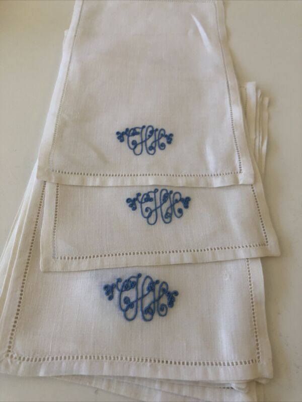 Eight Vintage Linen Embroidered Monogram 8  Cocktail Napkins