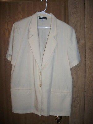 SAG HARBOR Womens 20W SS Pale Yellow Linen-Look 2 Button Blazer